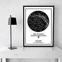 """Постер 30х 40 см з Вашою датою """"Зорі """""""