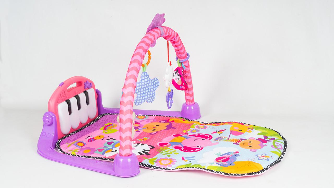 Развивающий коврик с пианино 8839. Мобиль. Розовый
