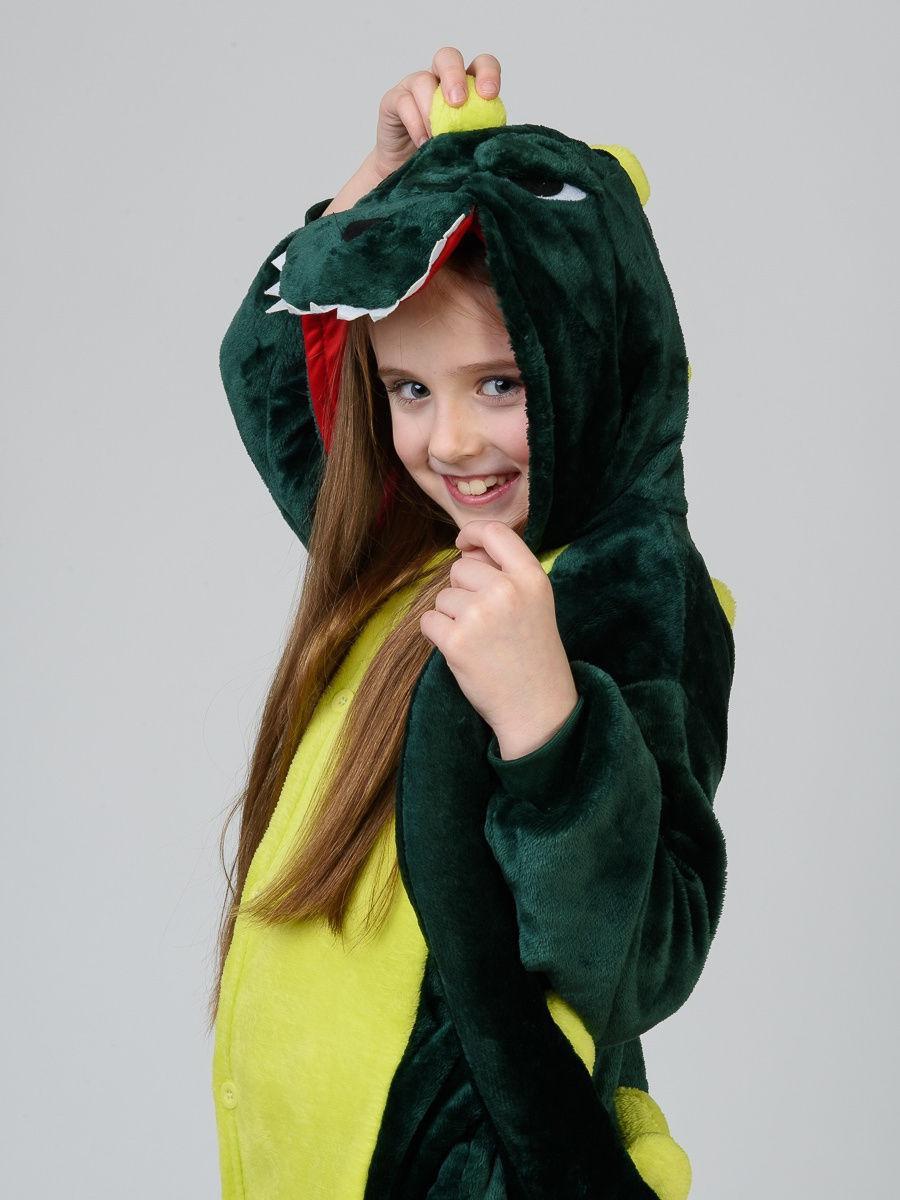 Пижама кигуруми для детей Дракон зеленый
