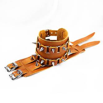 Браслет кожаный BKВ-181 два ремешка с шипами, фото 2