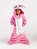 Пижама кигуруми для детей Зайка розовый 110 (105-115см)