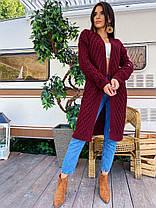 Теплий жіночий кардиган машинна в'язка з візерунком, фото 2