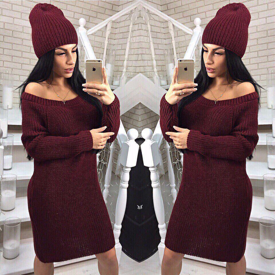 Свободное платье туника теплое вязаное с шапкой