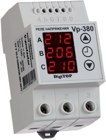 Реле напряжения Vp-380V DIN (3 фазы,  фазное)