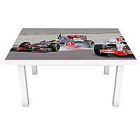 Наклейка на стіл Болід 3Д вінілова плівка гоночні машини Люди Сірий 600*1200 мм