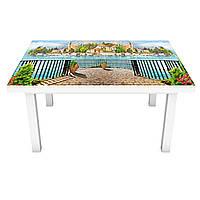 Наклейка на стол Морской городок 3Д виниловая пленка архитектура Море Голубой 600*1200 мм