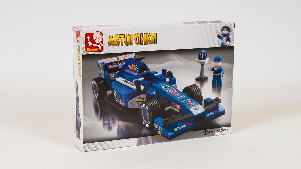Конструктор SLUBAN - гоночная машина. Серия Автогонки. В коробке 287 деталей