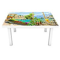 Наклейка на стол Курортная Променада 3Д виниловая пленка город горы Море Зеленый 600*1200 мм