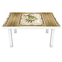 Наклейка на стіл Вантажний Візерунок Птахи 3Д вінілова плівка квіти Бежевий 600*1200 мм