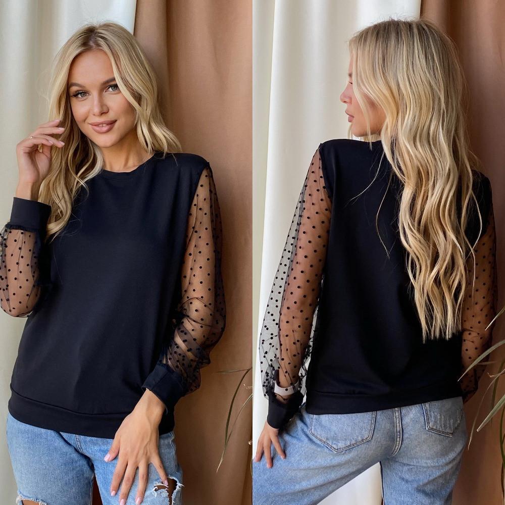 Женская блузка, двунить + сетка флок, р-р 42-44; 46-48 (чёрный)