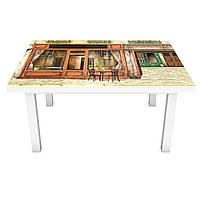 Наклейка на стіл Ретро Вітрини 3Д вінілова плівка двері Абстракція Бежевий 600*1200 мм