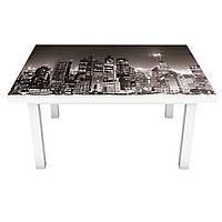 Наклейка на стол Ночной город огни 3Д виниловая пленка небоскребы Архитектура Серый 600*1200 мм
