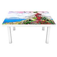 Наклейка на стол Горы и Море 3Д виниловая пленка Пейзаж Голубой 600*1200 мм