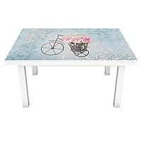 Наклейка на стіл Троянди Велосипед 3Д вінілова плівка букети Абстракція Блакитний 600*1200 мм