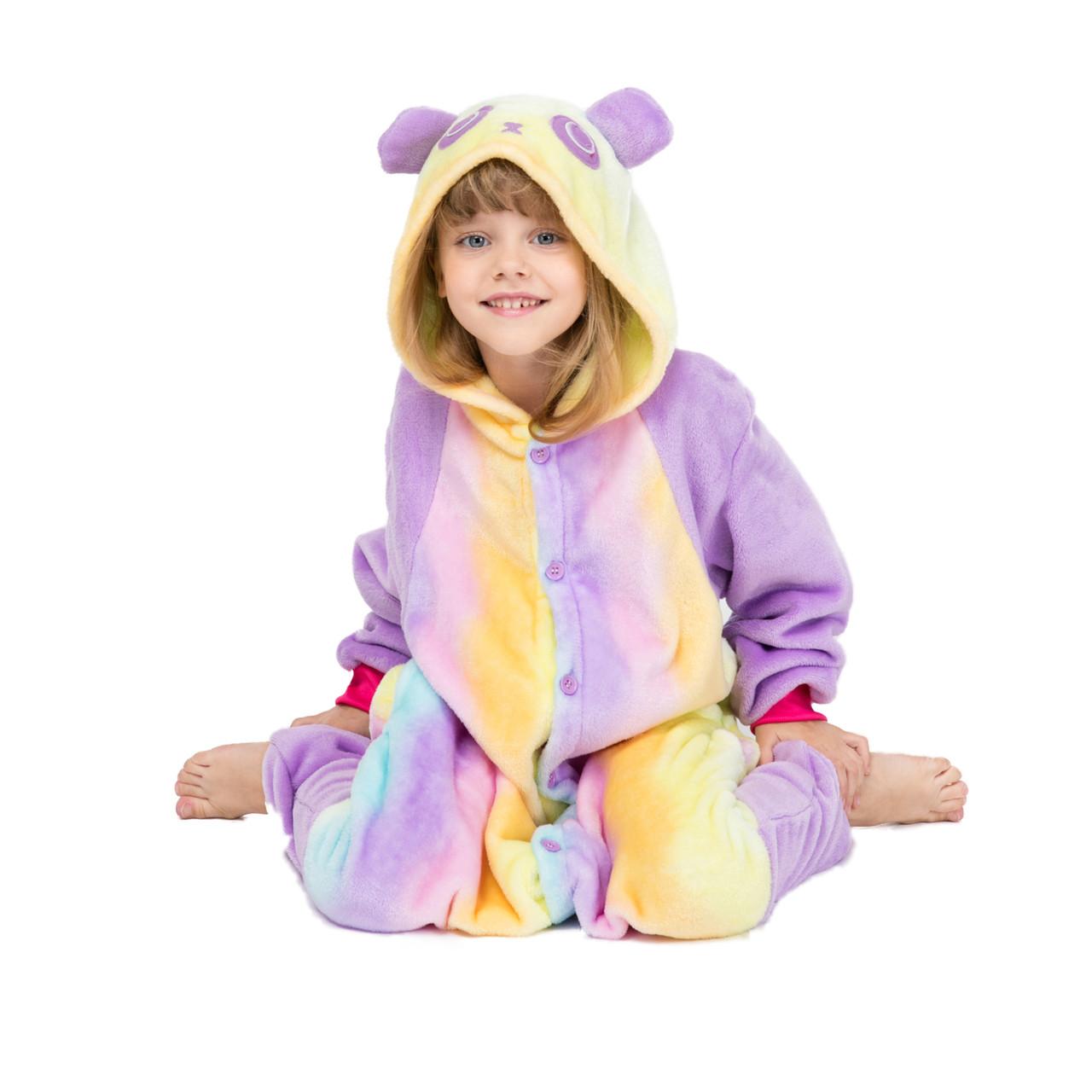 Пижама кигуруми для детей Панда радужная 110 (105-115см)