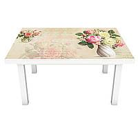 Наклейка на стіл Квіткове лист 3Д вінілова плівка написи Абстракція Бежевий 600*1200 мм