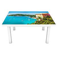 Наклейка на стол Бескрайнее море 3Д виниловая пленка пейзаж Голубой 600*1200 мм