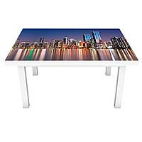Наклейка на стол Отражение огней Города 3Д виниловая пленка мегаполис небоскребы Синий 600*1200 мм