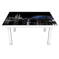 Наклейка на стол Радужный мост 3Д виниловая пленка ночной город Черный 600*1200 мм