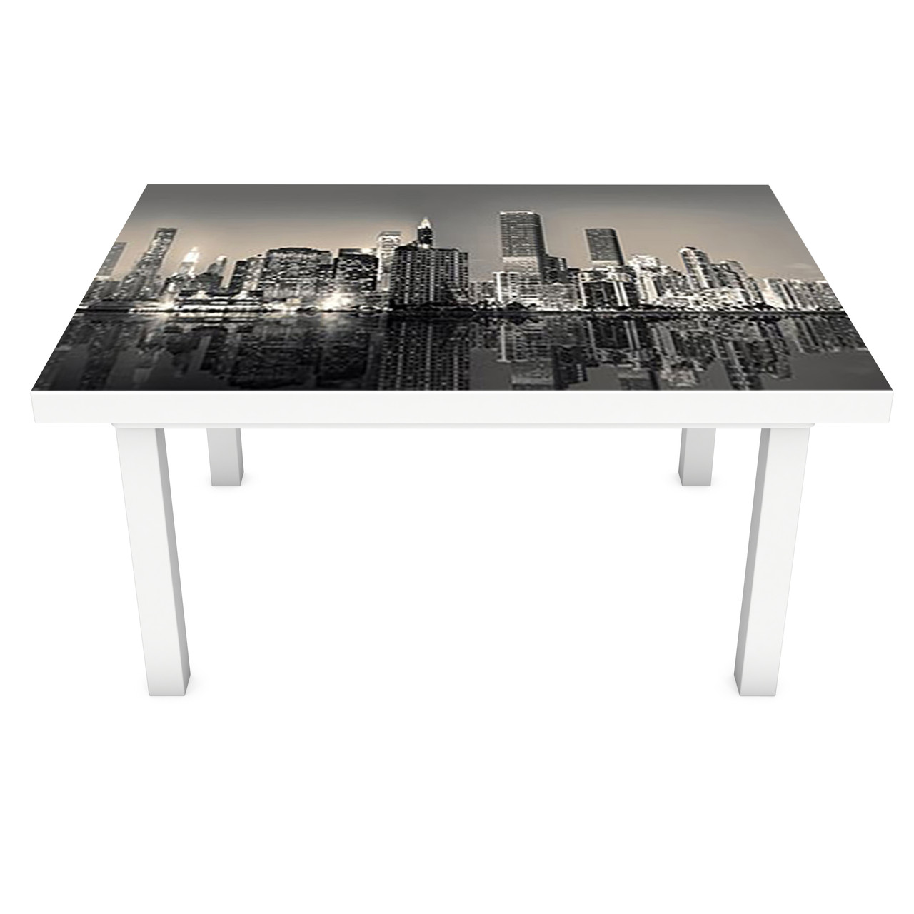 Наклейка на стол Мрачный Нью-Йорк (3Д виниловая пленка 3Д) небоскребы Город Серый 600*1200 мм