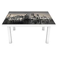Наклейка на стол Мрачный Нью-Йорк (3Д виниловая пленка 3Д) небоскребы Город Серый 600*1200 мм, фото 1