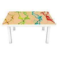Наклейка на стіл Фарби Бризки 3Д вінілова плівка Абстракція Бежевий 600*1200 мм