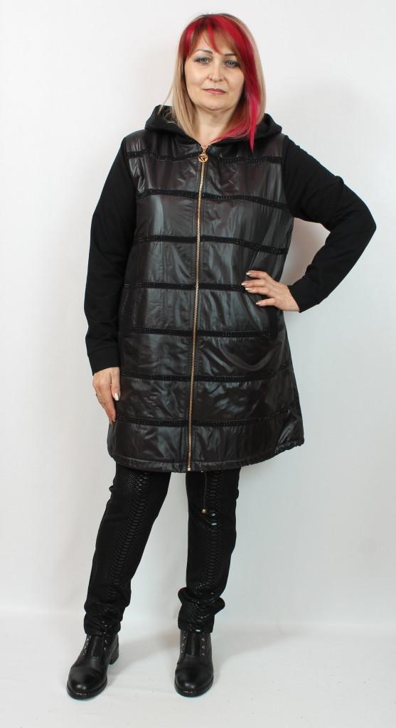 Турецкая удлиненная женская осенняя куртка больших размеров 50-66