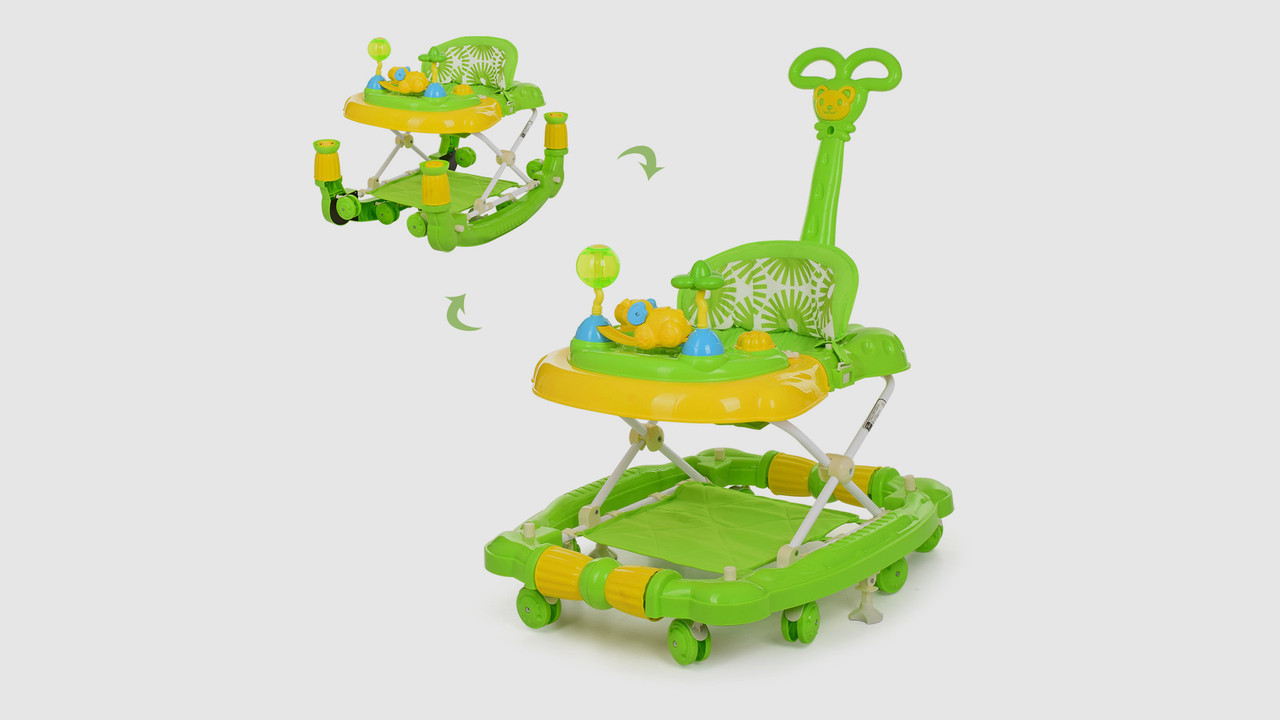 Ходунки BAMBI .M 3848-2. Родительская ручка. Музыкальные. 8 колес.Стопор.Зеленый