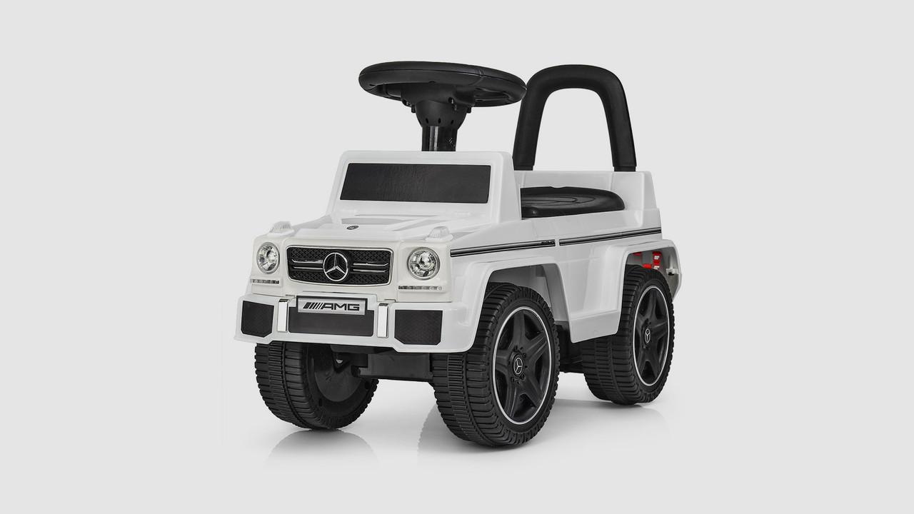 Каталка-толокар - музыкальный на батарейках. Багажник под сидением. Белый.