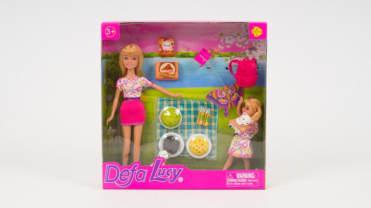 Кукла DEFA LUCY на пикнике. В комплекте (2 куклы: собачка: рюкзак: воздушный змей)