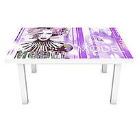 Наклейка на стіл Модель 3Д вінілова плівка мода дівчата Люди Фіолетовий 600*1200 мм