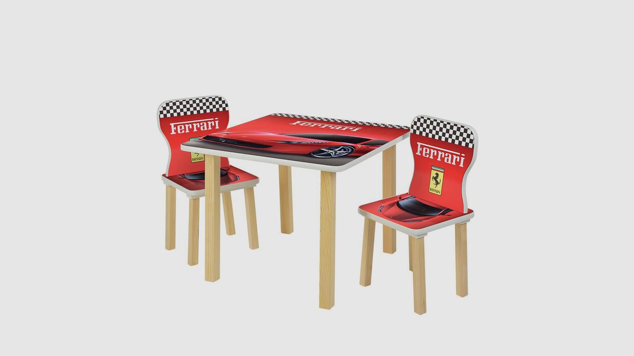 Столик і 2 стільці 508-47. Принт Ferrari