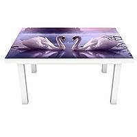 Наклейка на стіл Лебеді на озері 3Д вінілова плівка Птахи Фіолетовий 600*1200 мм