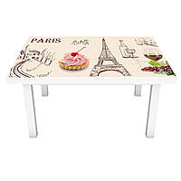 Наклейка на стол Сладости Парижа (3Д виниловая пленка 3Д) пирожные Еда Бежевый 600*1200 мм, фото 1