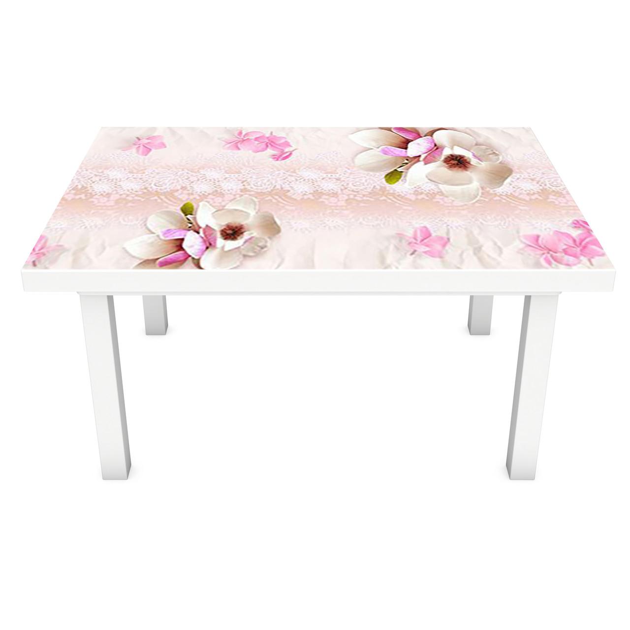 Наклейка на стол Магнолии Узор (3Д виниловая пленка 3Д) орнамент Цветы Розовый 600*1200 мм