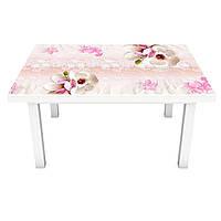 Наклейка на стол Магнолии Узор (3Д виниловая пленка 3Д) орнамент Цветы Розовый 600*1200 мм, фото 1