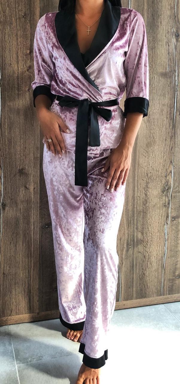 Стильный женский  велюровый костюм для дома и отдыха  Пиджак и штаны