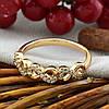 Кольцо Xuping  15158 размер 17 ширина 4 мм вес 1.8 г белые фианиты позолота 18К, фото 2