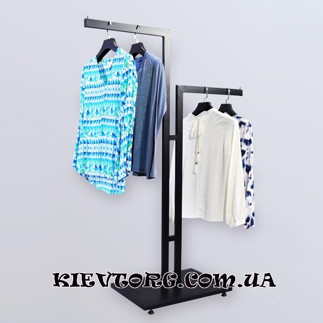 Стойка для одежды лофт, вешалка торговая для развески вещей двухуровневая в магазине