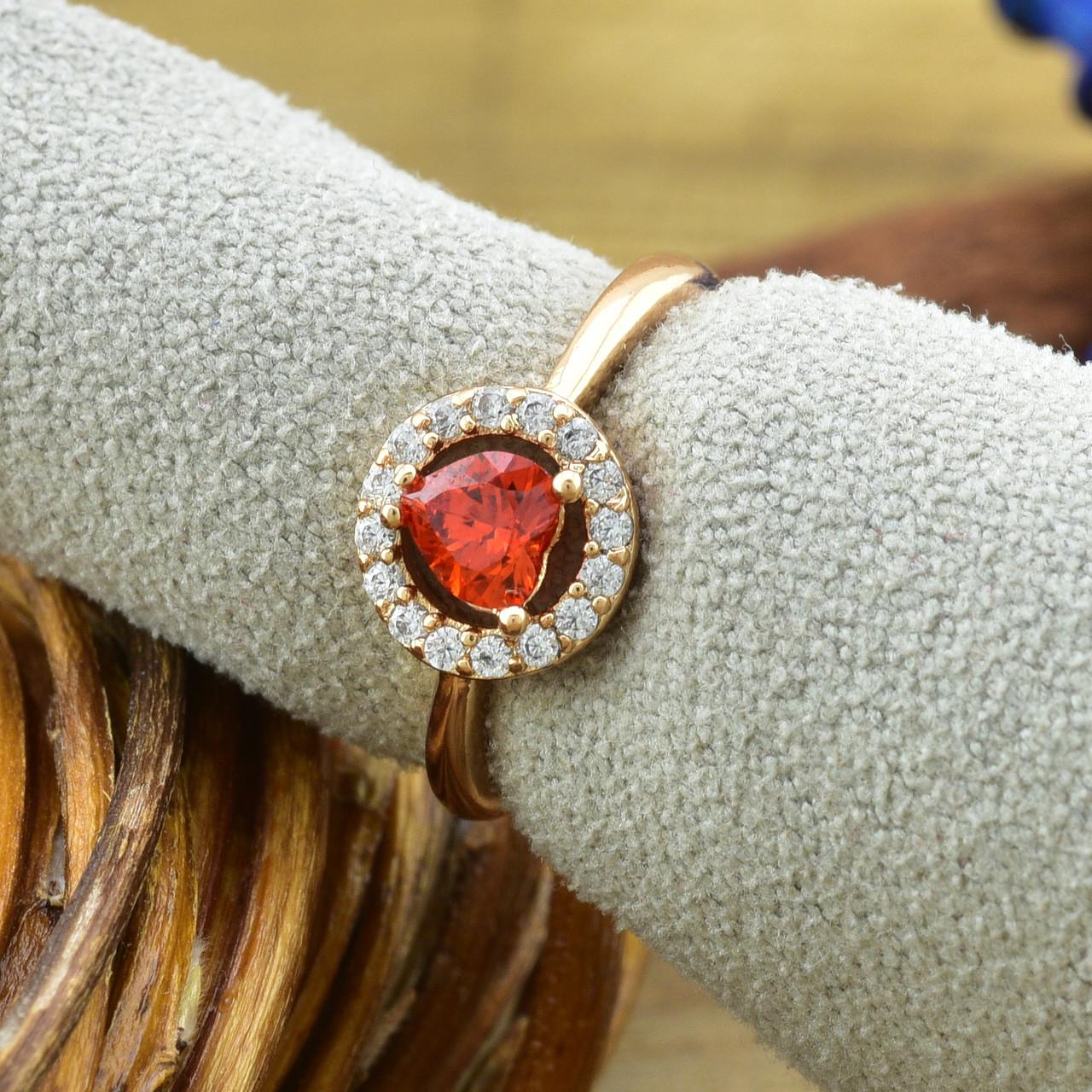 Кольцо Xuping детское 15147 размер 12 ширина 7 мм вес 1.0 г белые и красный фианиты позолота 18К