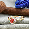 Кольцо Xuping детское 15147 размер 12 ширина 7 мм вес 1.0 г белые и красный фианиты позолота 18К, фото 2