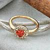 Кольцо Xuping детское 15147 размер 12 ширина 7 мм вес 1.0 г белые и красный фианиты позолота 18К, фото 3