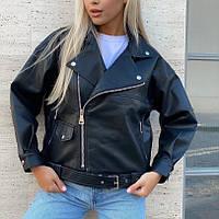 Женская удлиненная косуха Oversize из кожзама черная, фото 1