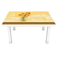 Наклейка на стол Солнечные Герберы (3Д виниловая пленка ПВХ) цветы Колизей Абстракция Желтый 600*1200 мм, фото 1