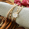 Кольцо Xuping двойное 15153 размер 18 ширина 9 мм вес 4.0 г белые фианиты позолота 18К, фото 5