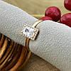 Кольцо Xuping детское 15151 размер 14 ширина 8 мм вес 1.1 г белые фианиты позолота 18К, фото 2