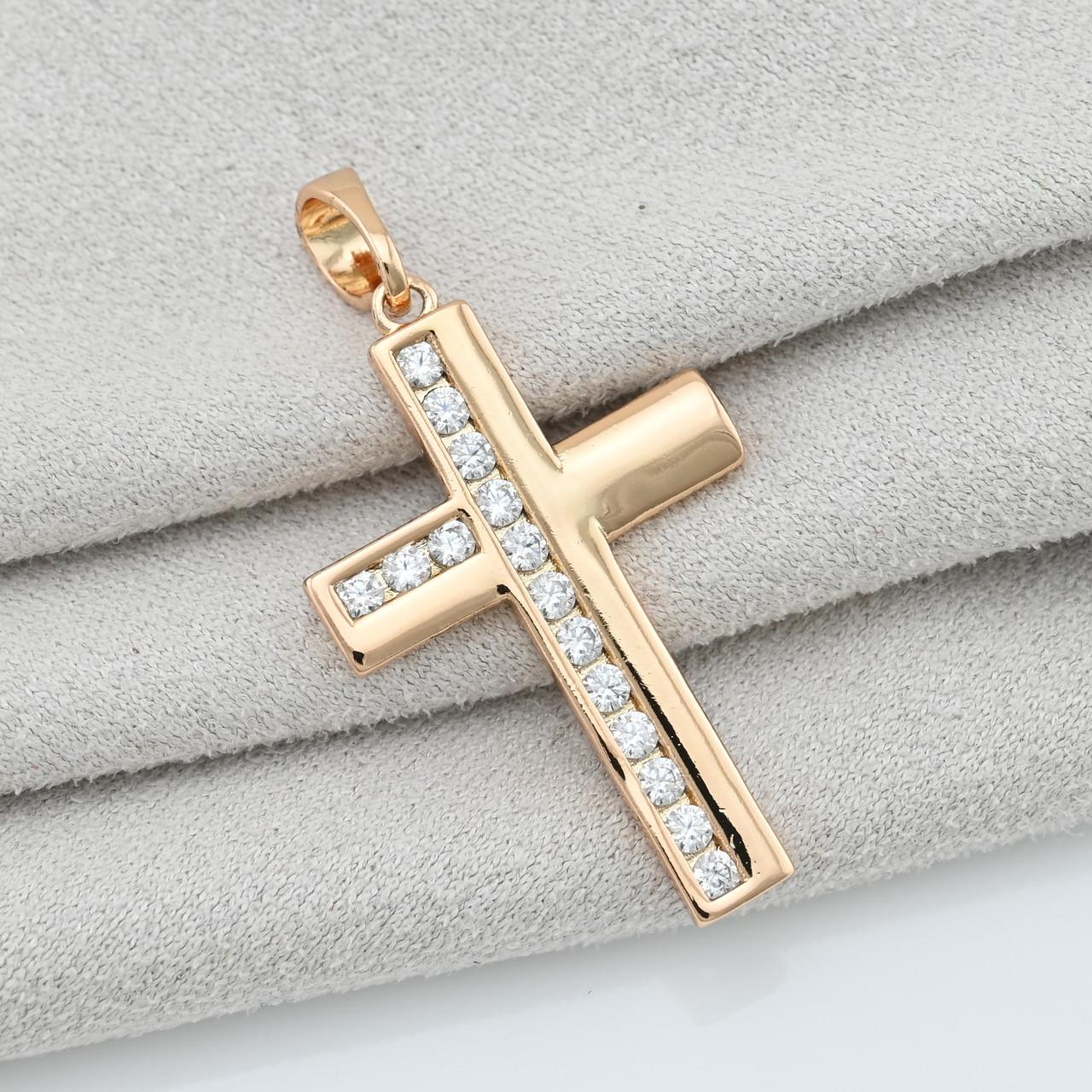 Крестик Xuping для цепочки до 3 мм 71327К размер 32х16 мм вес 1.7 г белые фианиты позолота 18К