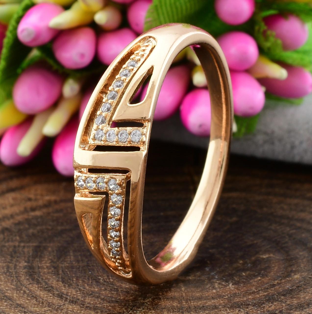 Кольцо Xuping 15166 размер 18 ширина 6 мм вес 2.2 г белые фианиты позолота 18К