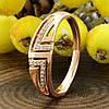 Кольцо Xuping 15166 размер 18 ширина 6 мм вес 2.2 г белые фианиты позолота 18К, фото 4