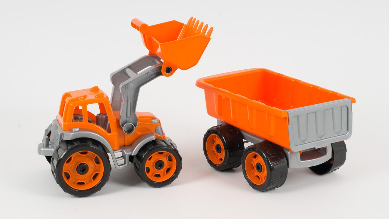 Машинка ТехноК Трактор с ковшом и прицепом. Ковш опускается и поднимается 2 вида.